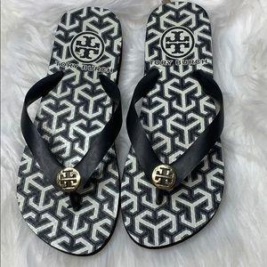 Tory Burch Flip Flops Black & White size 6